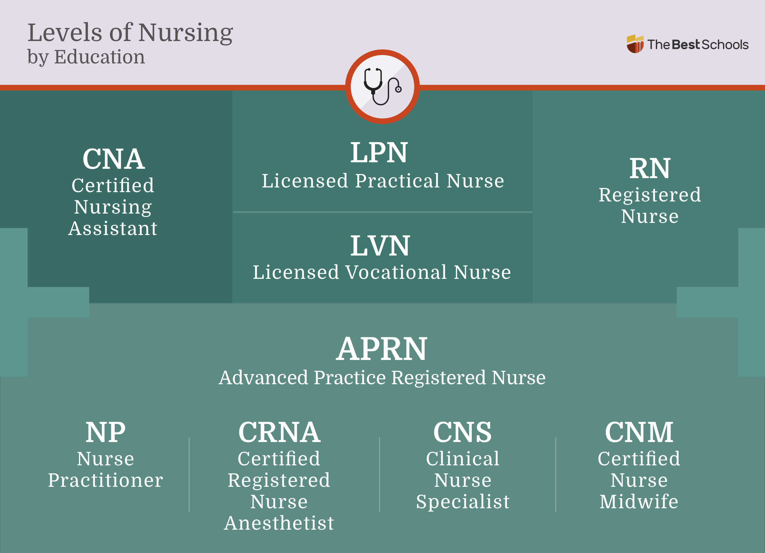 Image titled: Levels of Nursing by Education. Certified Nursing Assistant (CNA), Licensed Practical Nurse (LPN), Licensed Vocational Nurse (LVN), Registered Nurse (RN). Advanced Practice Registered Nurse (APRN), Nurse Practitioner (NP), Certified Registered Nurse Anesthetist (CRNA), Clinical Nurse Specialist (CNS), Certified Nurse Midwife (CNM).