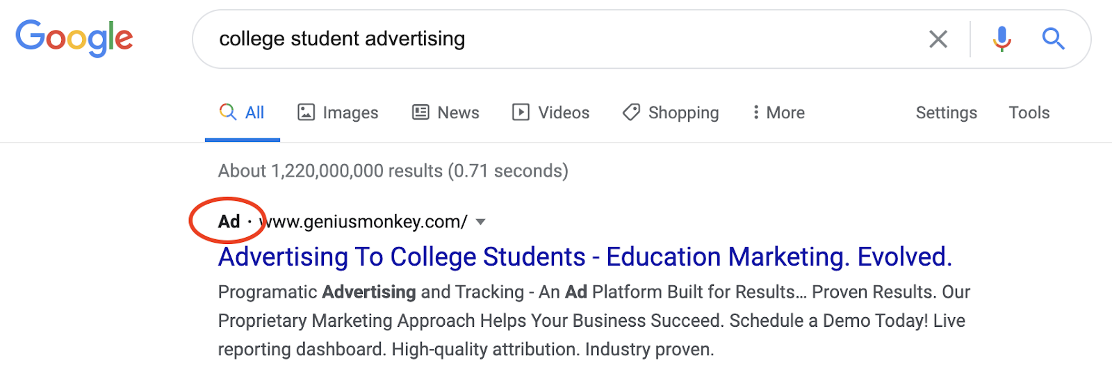 Screen shot of Google search for 'college student advertising' with an paid placement ad as the first result