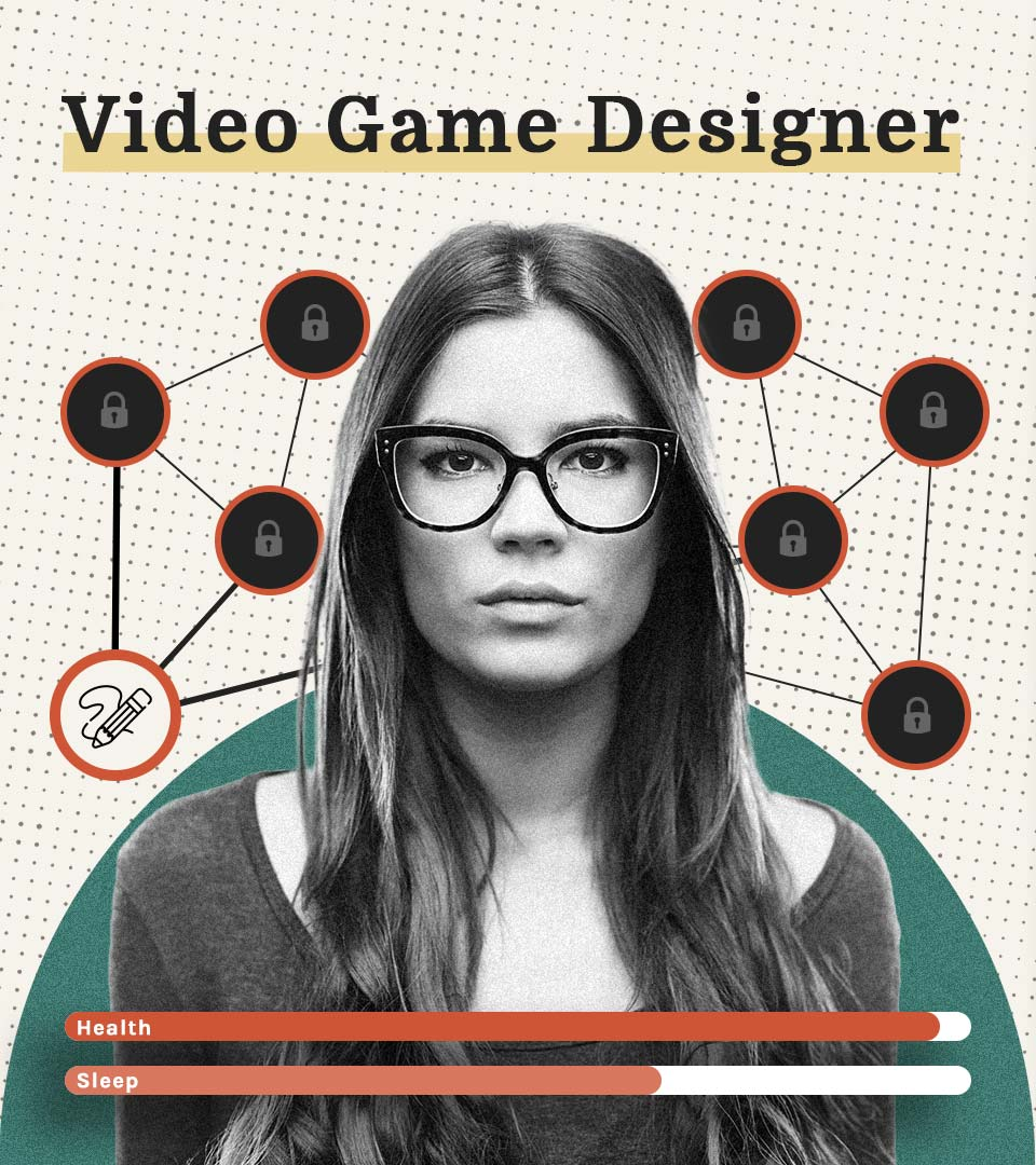 Portrait of a video game designer surrounded by icons representing relevant skills