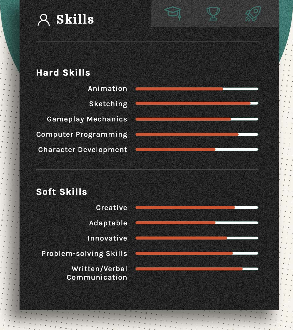 Hard Skills: animation, sketching, gameplay mechanics, computer programming, character development. Soft Skills: creative, adaptable, innovative, problem-solving skills, written/verbal communication.