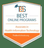 Best Online Associate in Health Information Technology Programs Badge