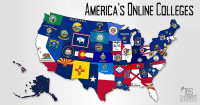 Map of America with state flags - online colleges