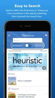 iPhone screen grab for Dictionary.com, via iTunes