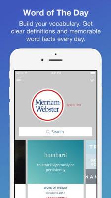 iPhone screen grab for Merriam-Webster Dictionary, via iTunes