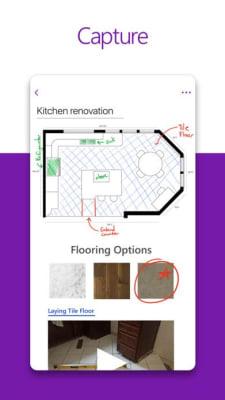 iPhone screen grab for Microsoft OneNote, via iTunes