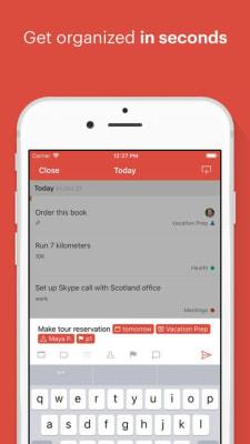 iPhone screen grab for Todoist, via iTunes