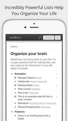 iPhone screen grab for Workflowy, via iTunes