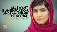 "Image #52: ""All I want is an education, and I am afraid of no one.""Malala Yousafzai Quote"