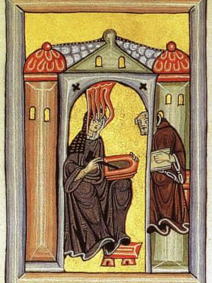 An artist's depiction of Hildegard of Bingen