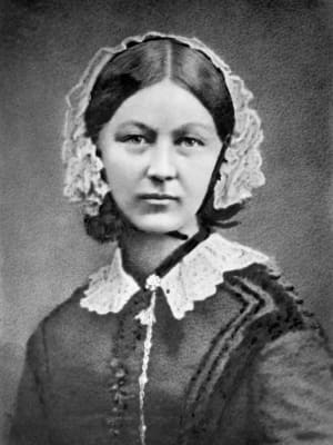 A black and white portrait of Florence Nightingale