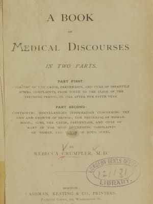 A worn, tattered cover of Crumpler's book, A Book of Medical Discourses