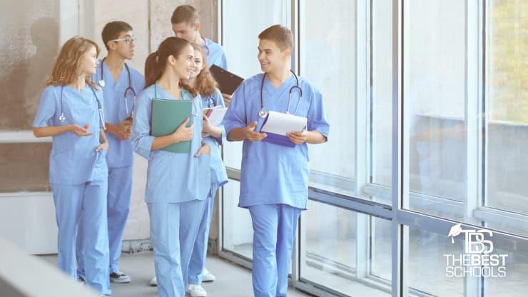 426409e1eda Best Online Pre-Nursing Programs (image of five young professionals in nursing  scrubs walking
