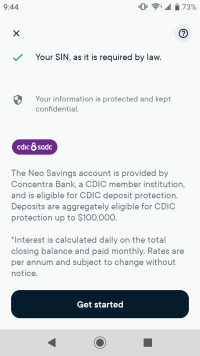 Savings account is provided by Concentra Bank
