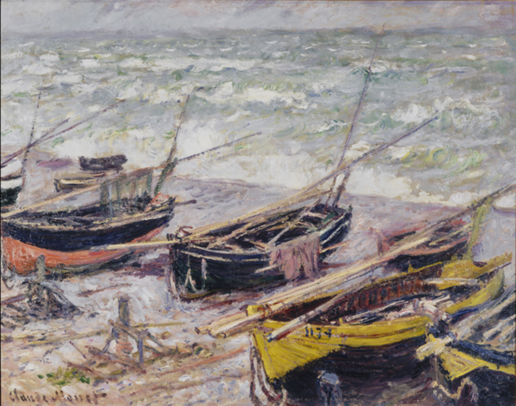 Fishing Boats at Étretat, 1885, Claude Monet.