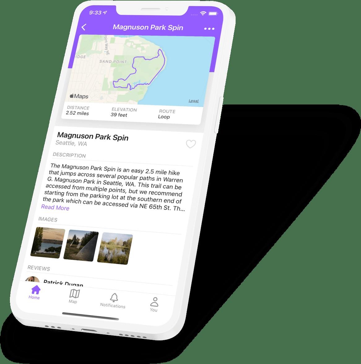 An image of the Hikearound iOS app