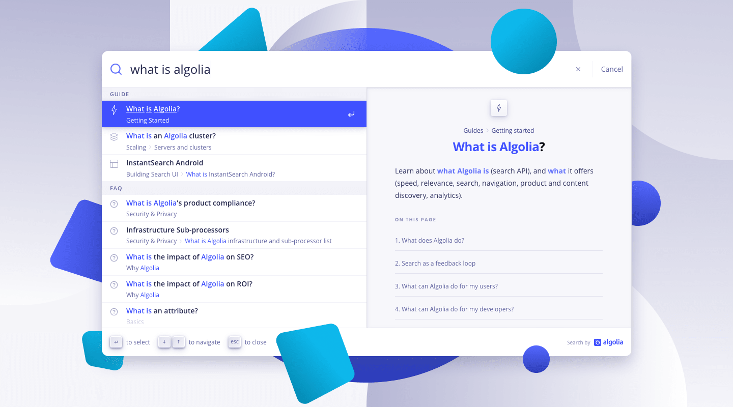Replicating the Algolia documentation search with Autocomplete