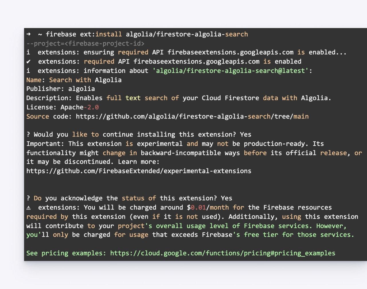 install Cloud Firestore database