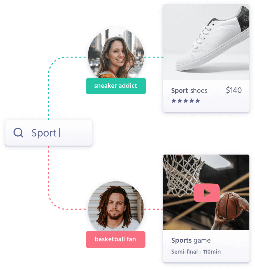 """Illustration for """"Create truly unique, AI-powered search experiences"""""""