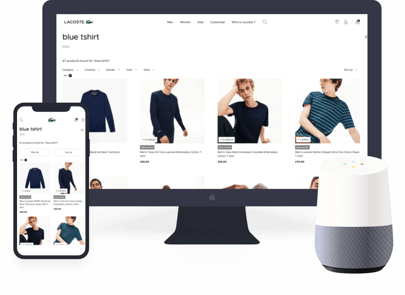 Mobile and desktop screens with voice e-commerce
