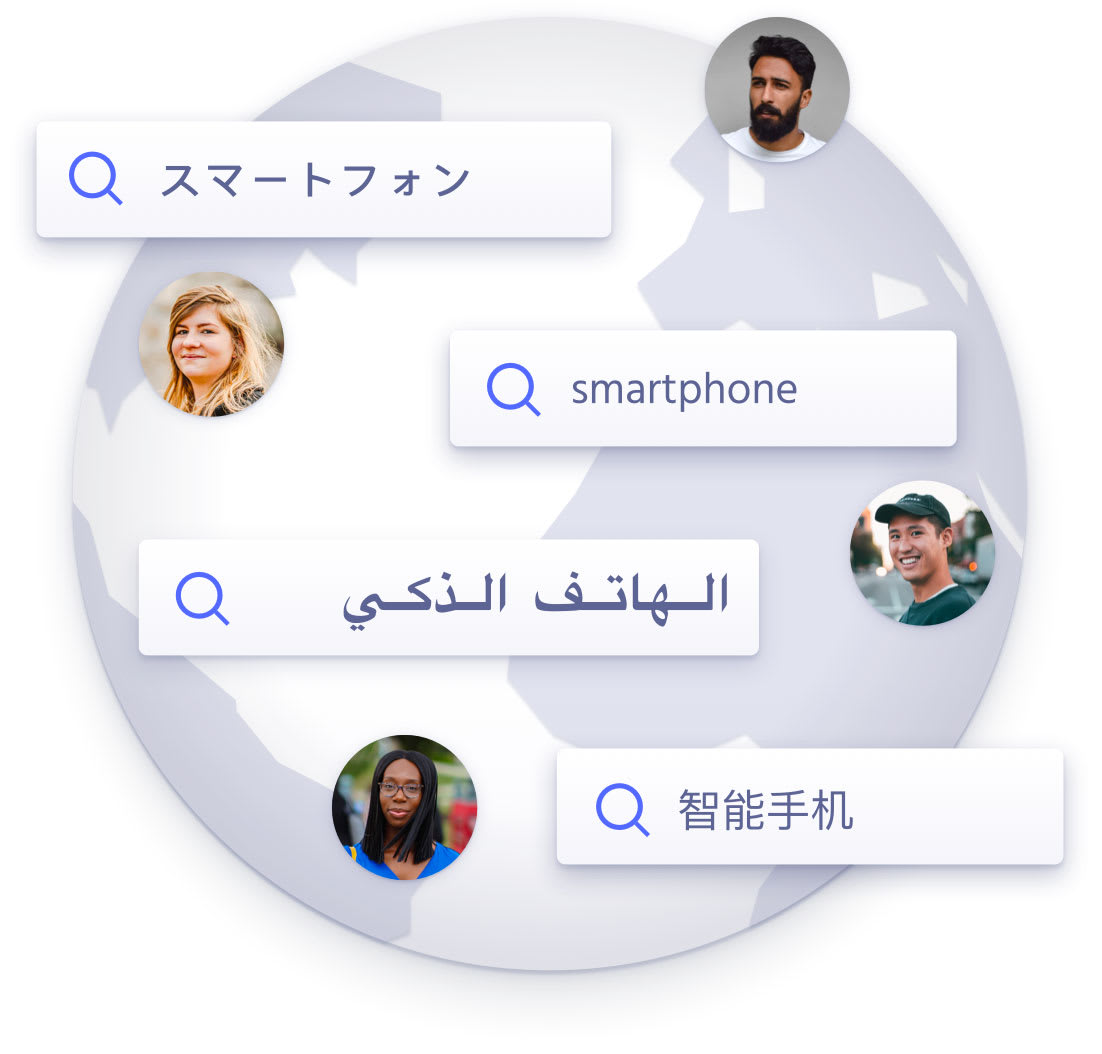 "The search request ""smartphone"" displayed on several languages over the world"