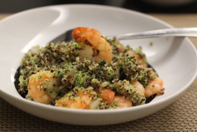 "Stir-Fried Shrimp With ""Zucchini Quinoa"""