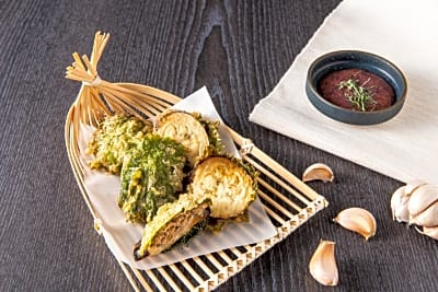 Recipe: Stuffed Aubergine with Minced European Pork Collar Chop Tempura