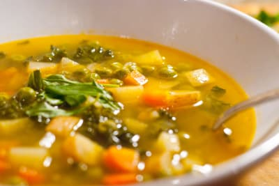 Winter Root Vegetables, Chinese Beans & Barley Soup