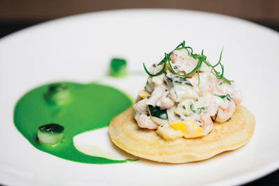 Socca Pancakes with Crab Rillettes and Jalapeño Dressing