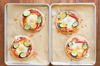 Pita Pizza with an Egg, Cheese and Beans