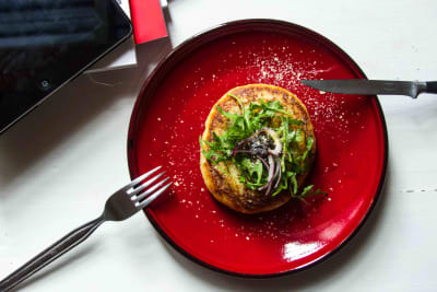 Potato cake stuffed with spring greens