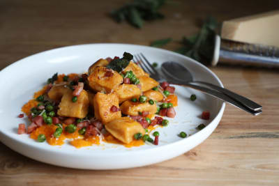Recipe: Pumpkin Gnocchi with Sage, Peas and Pancetta