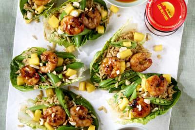Recipe: Char Siu Prawn, Mango and Rice Lettuce Cups