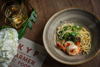 Recipe: Toscano Kale and Tiger Prawn Linguine