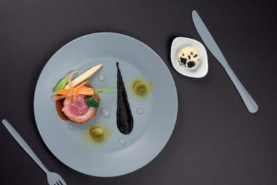 Recipe: Seared Lamb Loin with Chinese Olive, Salted Lemon and Squid Ink Marbled Butter