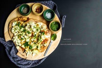 Cauliflower Wholewheat Pizza with Fresh Mint Pesto