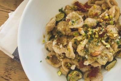 Recipe: Pistachio Pesto with Courgette & Sun-Dried Tomato Orecchiette