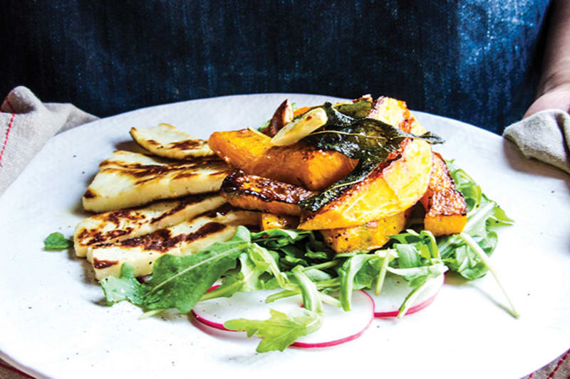 Spicy Garlic & Sage Pumpkin With Halloumi Salad