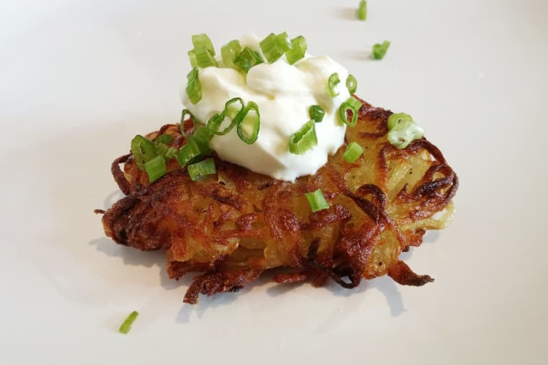 Potato Latkes with Sour Cream and Chives