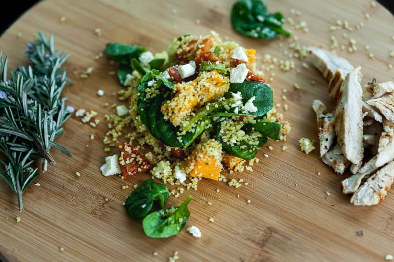 Roasted Vegetable Couscous Salad with Garlic and Rosemary Chicken Recipe