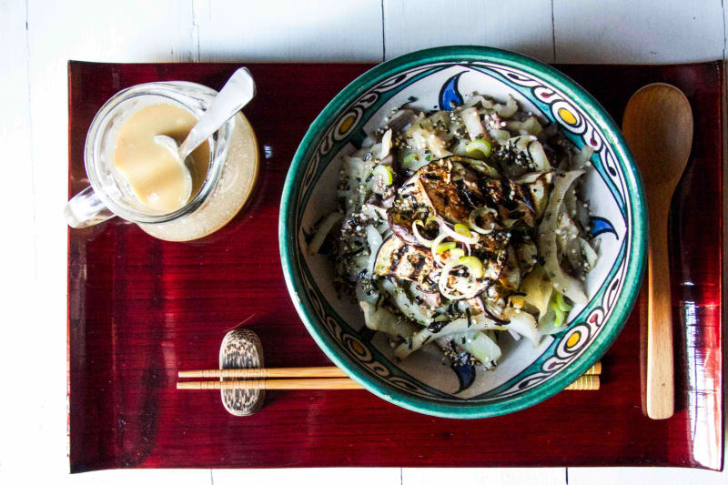 Grilled Eggplant & Shiitake with Cabbage Soba Salad