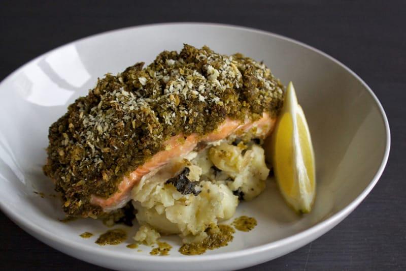 Recipe: Pesto-Crusted Salmon with Lemon Crushed Potatoes