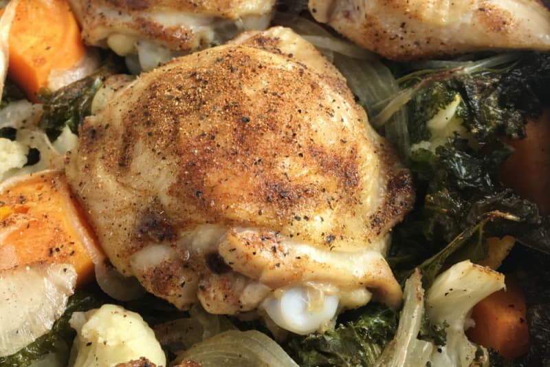 Recipe: One-Pan Roast Chicken and Kale