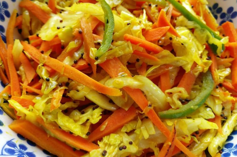 Indian Vegan Delights Recipe: Carrot and Cabbage Sabzi