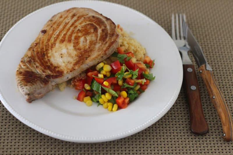 Grilled Tuna with Couscous and tomato pepper corn salsa