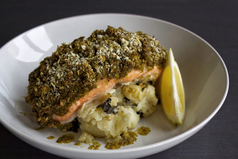 Recipe: Pesto-Crusted Salmon with Lemon Crushed Potatoes