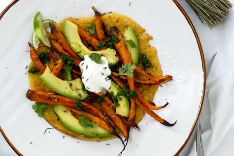 Recipe: Roasted Carrot and Avocado Farinata