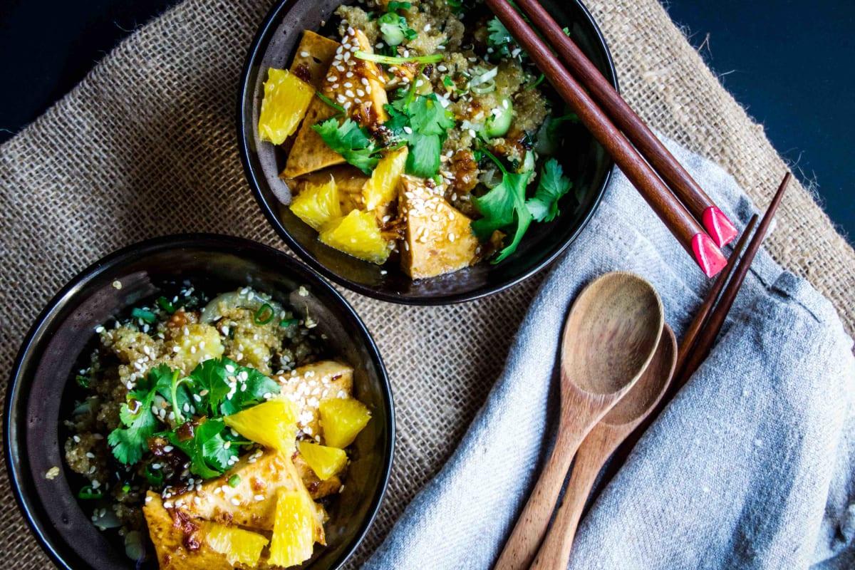 Orange Glazed Tofu with Stir-fry Chinese Vegetables and Quinoa