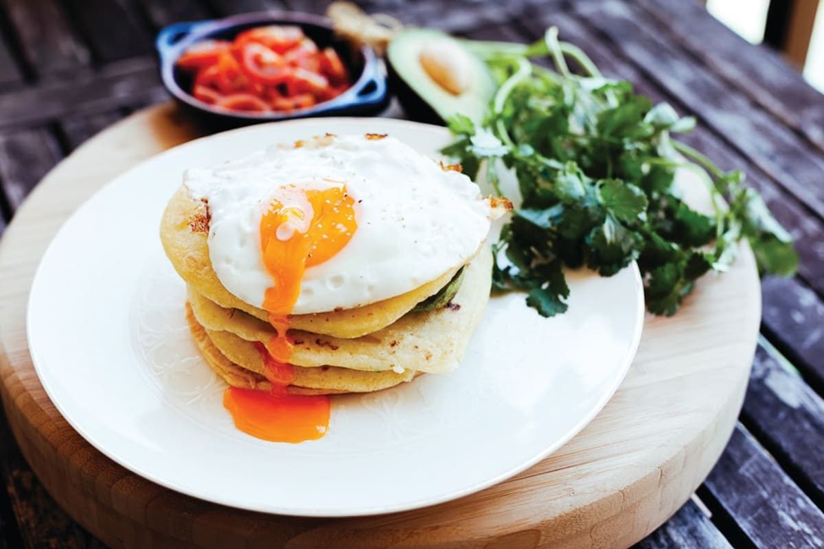 "Tortilla Stack with ""Egg Yolk Sauce"""