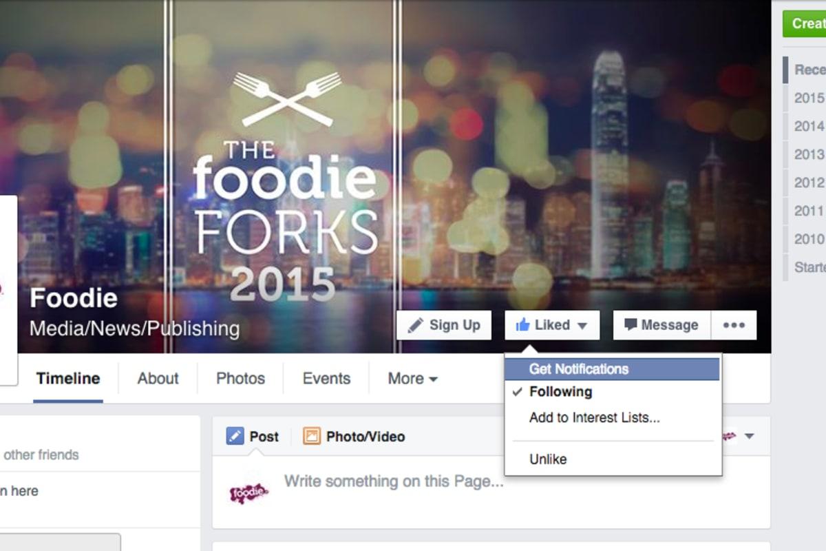 Get Facebook to Deliver Foodie News