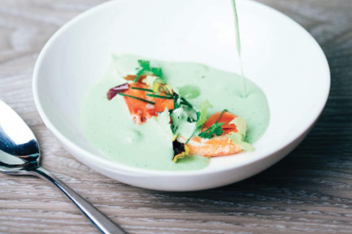 Cucumber Mint Gazpacho with King Crab